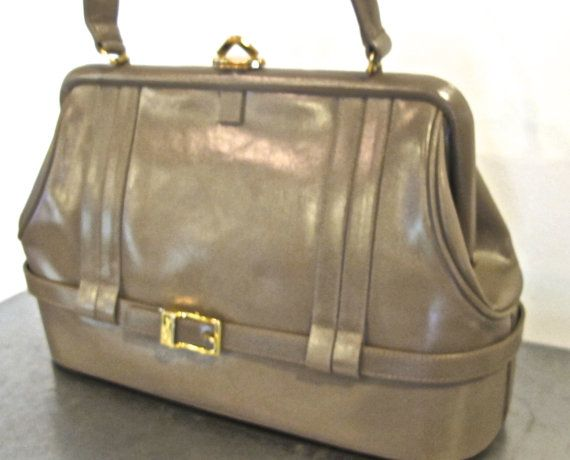 Vintage Greige Leather Handbag 1950s Lou Taylor Structured Snap Top Purse W Mirror Inside Handbags And