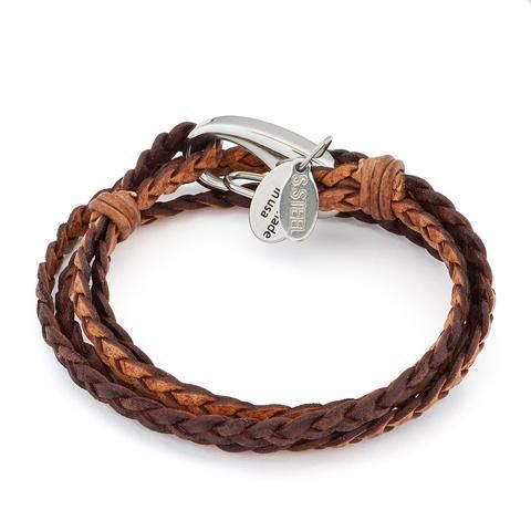 Mini Nate 2 Strand wrap bracelet Sterling-Silver clasp Natural Antique Brown leather, comes as shown