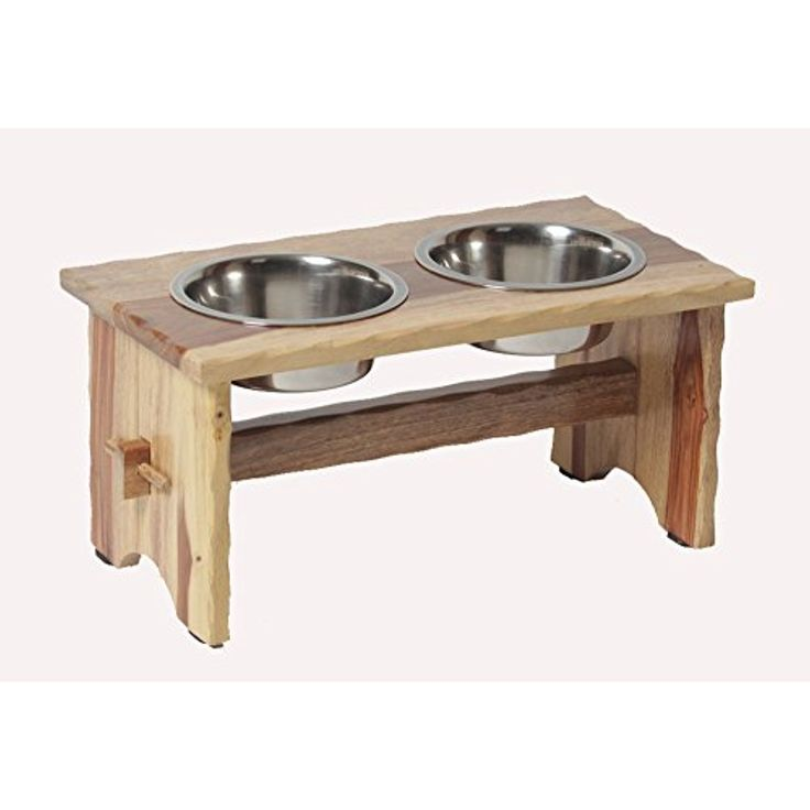 "Medium ""Rustic"" Wooden Elevated Raised Dog Feeder - Deluxe Pet Diner @@@ You can continue to the product at the image link. (This is an affiliate link and I receive a commission for the sales)"