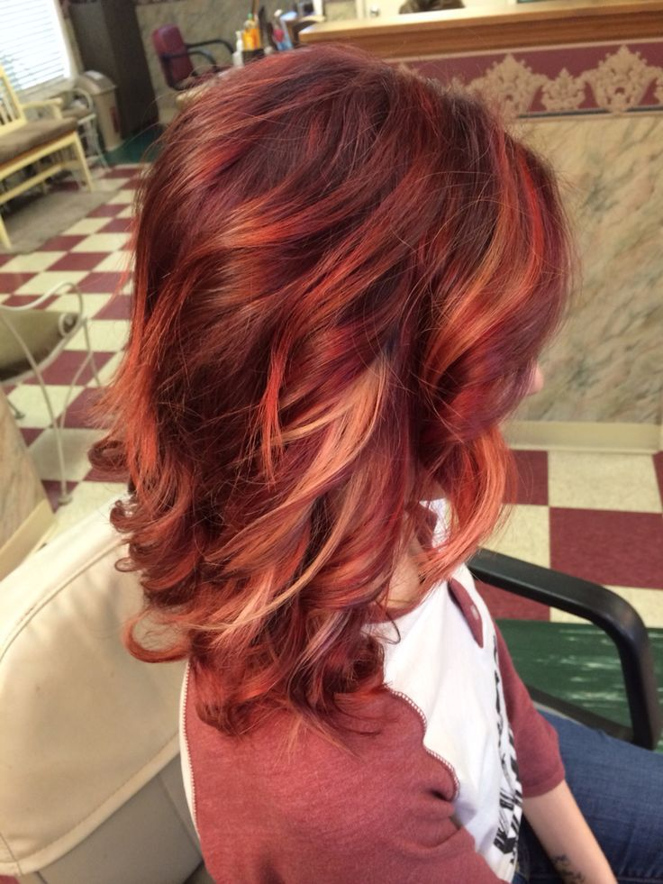 Red Hair Color with Blonde, copper and rose gold highlights