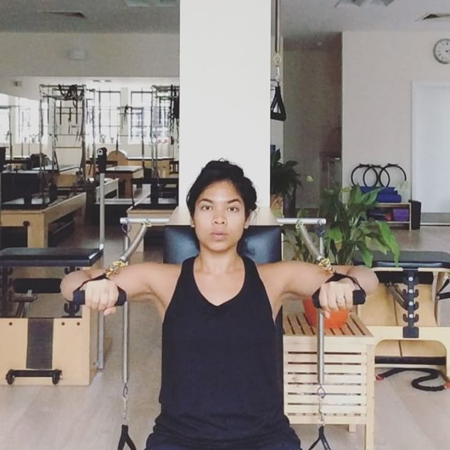 Playing with #pilates #armchair today. Working on arms and back connection. So lucky to have all these equipment to play with at work  #pilatesinstructor #pilatesteacher #pilateseveryday #pilatesanytime #pilateslover #pilatesarmchair #armchair