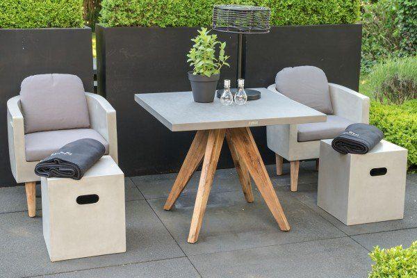 Square Beton Sitzgruppe Anthrazit 5 Teilig Tisch 90x90 Cm