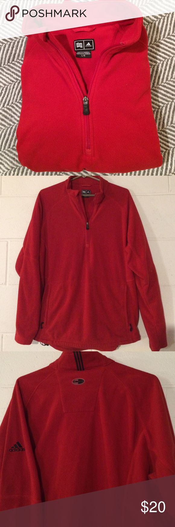 Adidas ClimaWarm women's fleece pullover. Like new This is in excellent, like new condition. No holes, stains or tears. Red in color with Adidas logo on sleeve. Zips 1/4 of pullover. Very soft, warm Adidas ClimaWarm pullover! Adidas Tops Sweatshirts & Hoodies