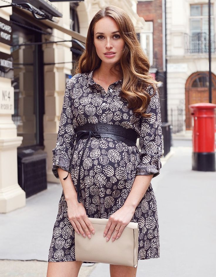 《Maternity Style》 Printed Woven Maternity Shirt Dress | Seraphine for Maternity Inspiration |Maternity Clothes