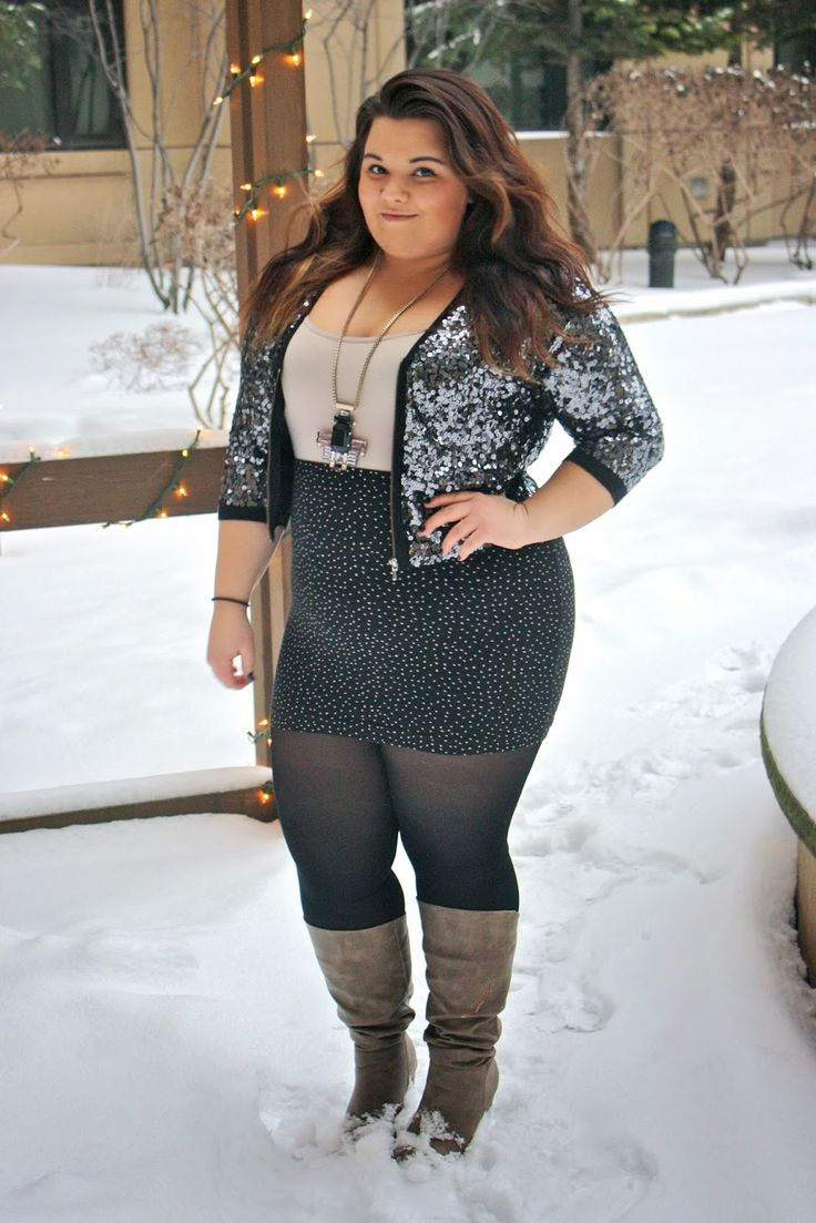 Www.natalieinthecity.com plus size fashion ootd sequins guess skirts tights winter ...