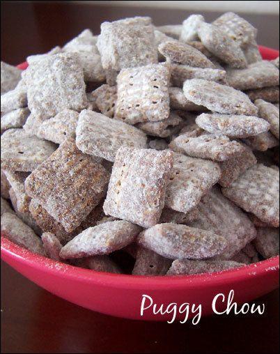 Puggy chow, puppy chow, muddy buddies - it all tastes the same - yummy! #dessert #snack