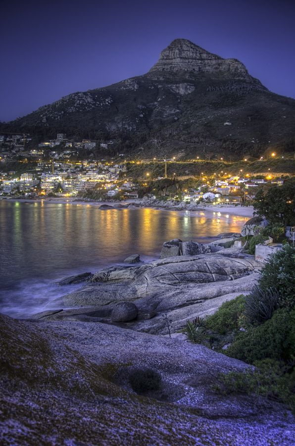 Clifton Beaches in Cape Town, South Africa, Just after sunset.