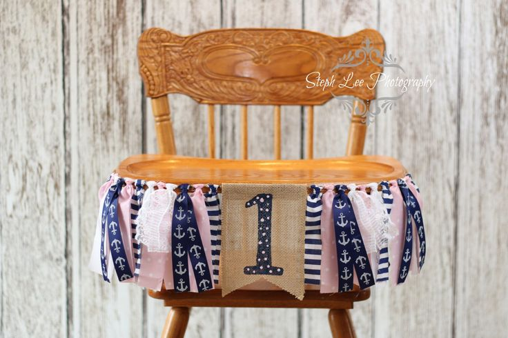 Pink and Navy Nautical Burlap High Chair Banner, Nautical 1st First Birthday, Nautical Girl Fabric Strip Banner, Pink and Navy Anchor Banner by PhotograMomProps on Etsy https://www.etsy.com/listing/272343744/pink-and-navy-nautical-burlap-high-chair