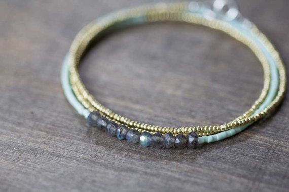 Seed Bead & Labradorite Multi Wrap Bracelet, Delicate Beaded Boho Chic Necklace, Seed Bead Necklace, Labradorite Jewelry