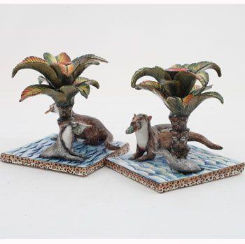 Ardmore Ceramics: Otter Candlestick Pair