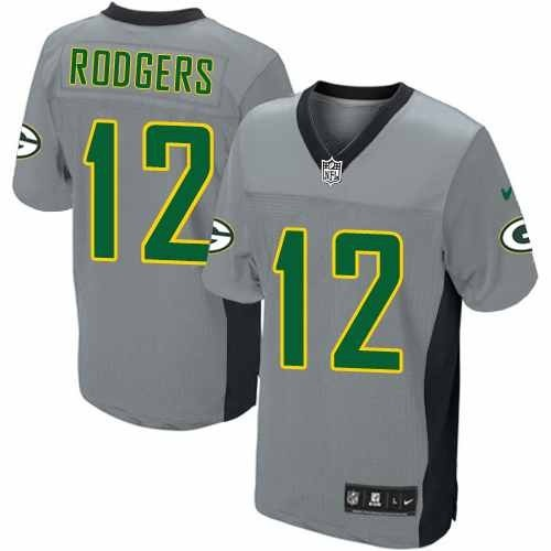 d3d33ad88 ... NFL Shop for Official Mens Nike Green Bay Packers 12 Aaron Rodgers  Elite Grey Shadow Jersey ...
