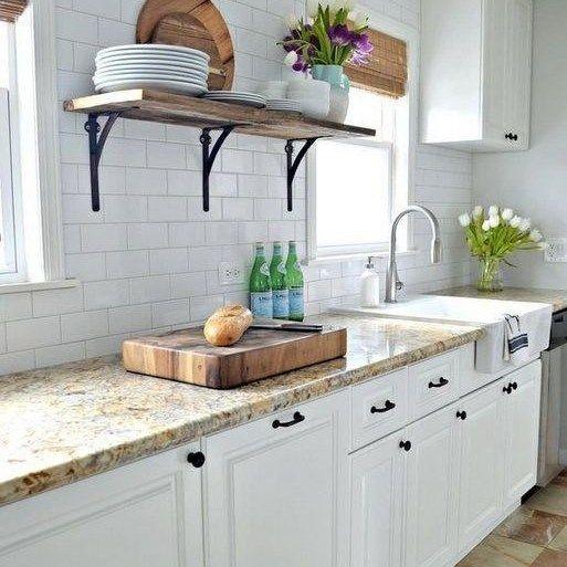 25 Farmhouse Kitchen Backsplash Joanna Gaines French Country At A Glance 6 Backsplash Count Kitchen Remodel Small White Kitchen Renovation Kitchen Remodel