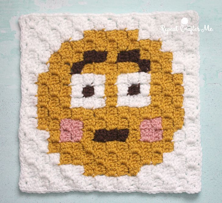 Happy FaceEmoji is the ninthsquare (and final square) in my C2C Crochet Emoji Graphgan! Stay tuned for the finished blanket and bonus emoji squares! If you missed square #1 you can find it here: Heart EyesEmoji And square #2 here: Sobbing Emoji And square #3 here: Tears of Joy Emoji And square #4 here: Blowing …