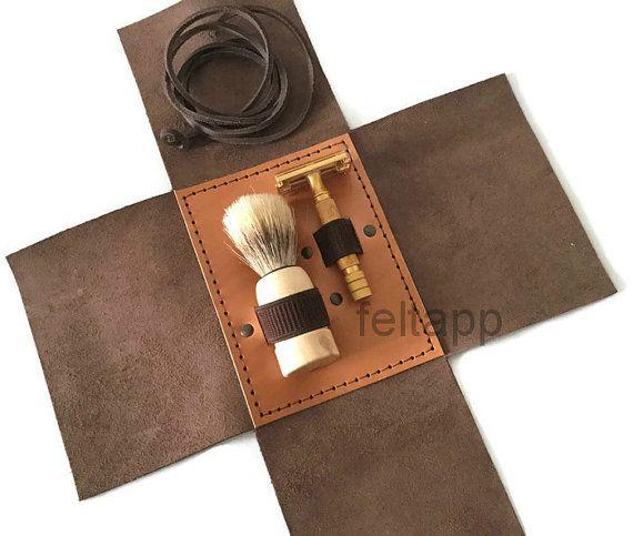 Lederen reistas Razor en scheren scheren borstels door feltapp