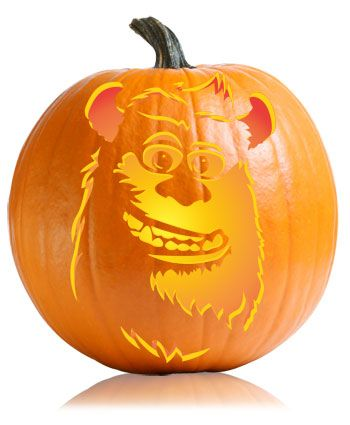 Pumpkin patterns sulley monsters inc and monsters on for Monster pumpkin carving patterns