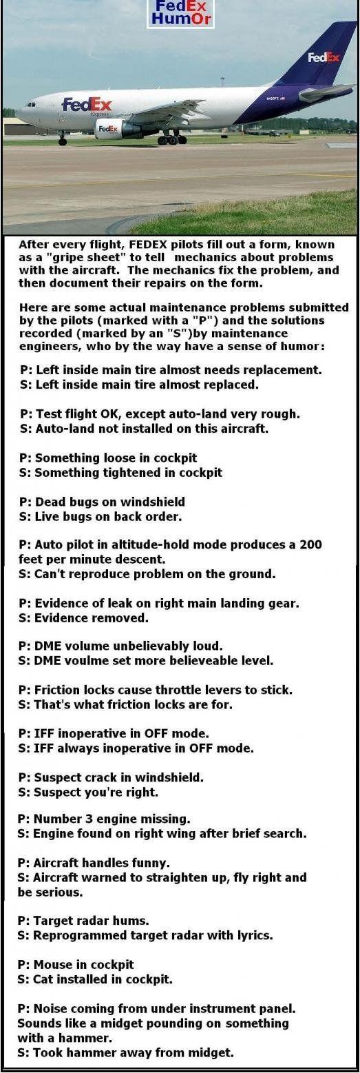 FedEx pilot/maintenance quips.