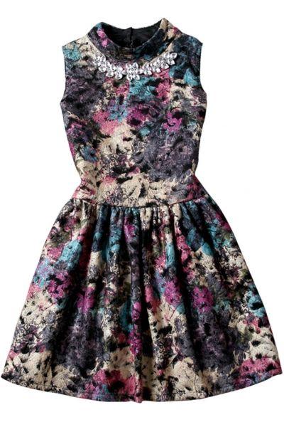Vintage Floral Pleated Sleeveless Beaded Dress