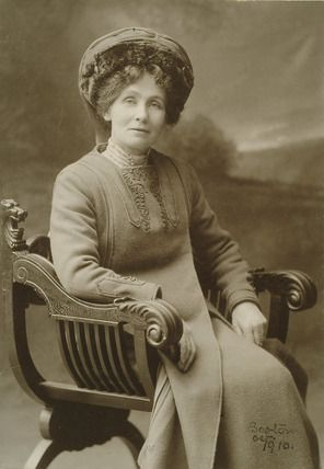 Mrs. Emmeline Pankhurst (1858-1928). Portrait of Mrs. Pankhurst taken in Boston in October 1910. Emmeline Pankhurst was the Honorary secretary of the WSPU and later Honorary treasurer. Born in Manchester from a radical political background, Emmeline married Dr. Richard Pankhurst, the 'red doctor' a radical feminist barrister. Their daughters were also involved in the WSPU. By 1913, Emmeline had served three prison sentences, two for leading a deputation to Parliament, and for inciting the…