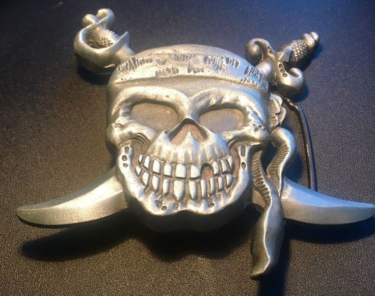 "4"" Hand Forged Pewter Pirate Skull & Crossbones Vintage Belt Buckle~Silver City  | eBay"