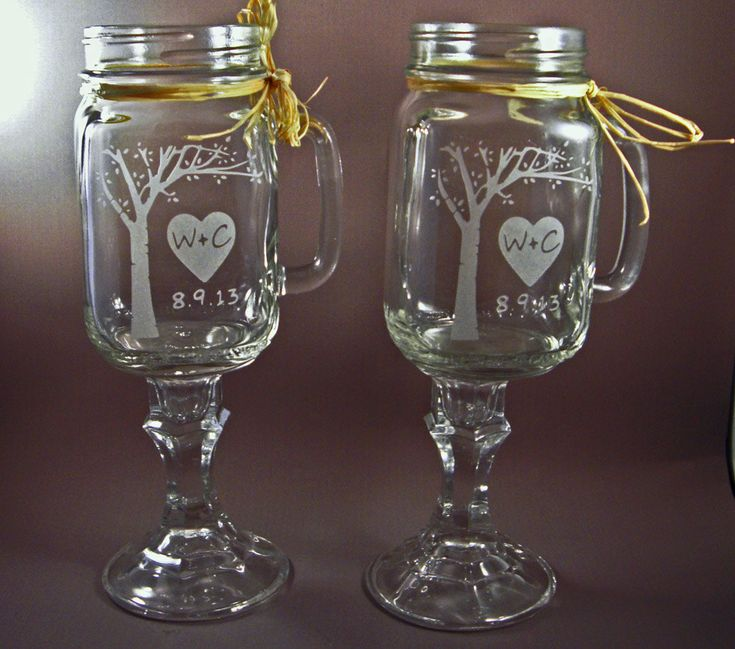 Personalized Redneck Mason Jar Wine Gles With Blooming Tree Gl Wedding Jars Party