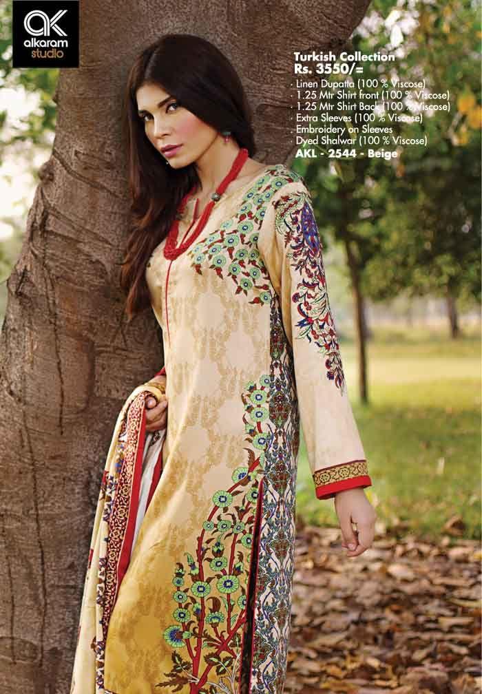 AKL 2544 - Beige Rs. 3550/- Linen Dupatta (100 % Viscose) 1.25 Mtr Shirt Front (100 % Viscose) 1.25 Mtr Shirt Back (100 % Viscose) Extra Sleeves (100 % Viscose) Embroidery on Sleeves Dyed Shalwar (100 % Viscose)  www.alkaramstudio.com