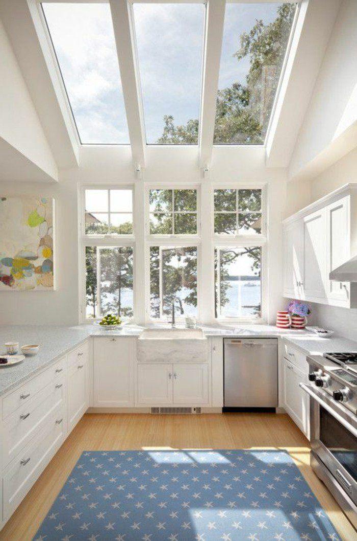 verriere interieure pas cher, sol en bois clair, meubles de cuisine en bois blanc