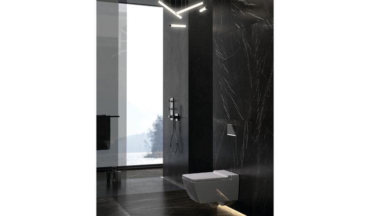 Un #baño mejor en #diseño con el pulsador #Geberit Sigma60 enrasado en la pared.