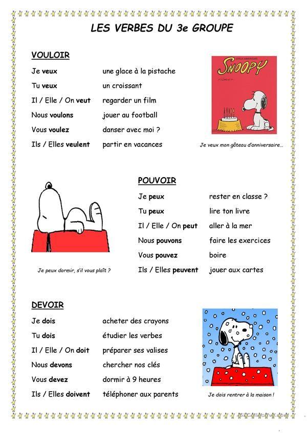 Verbes 3e Groupe Verbe Verbes Francais Phrases En Francais