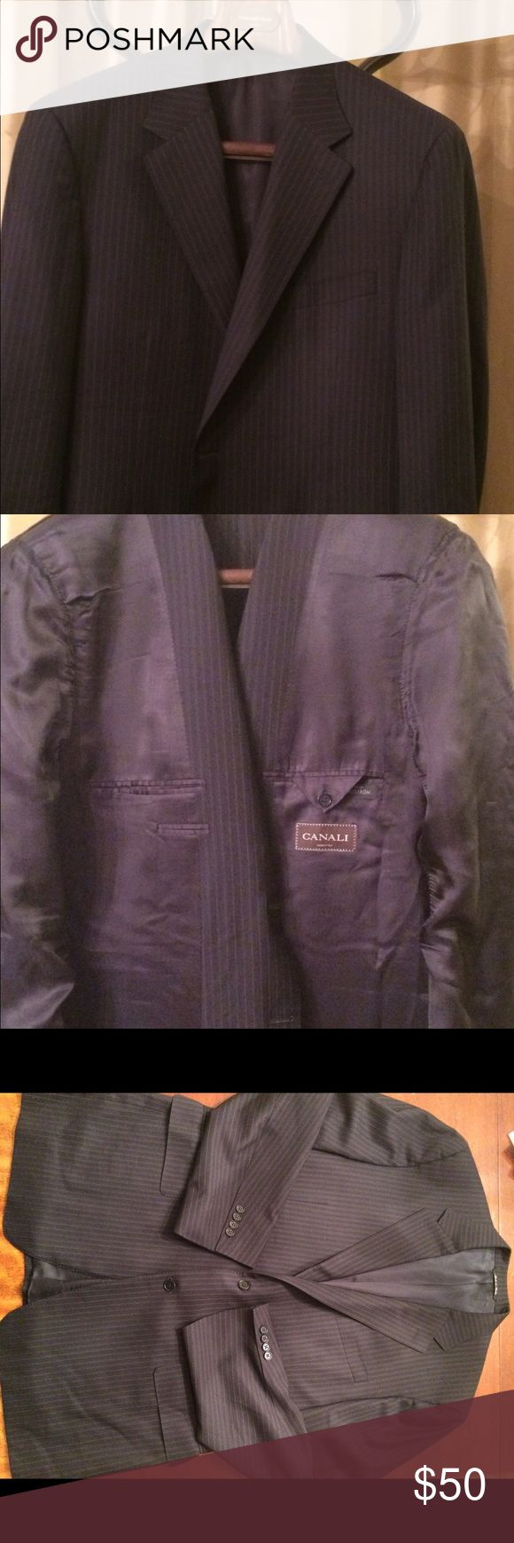 Canali Navy Pinstripe Jacket Canali for Nordstrom suit Jacket. Navy blue with silver pinstripes.  Size 58 Europe. In great shape no tears rips stains etc. more pics and info available upon request. Thanks for lookin! Canali Suits & Blazers Sport Coats & Blazers