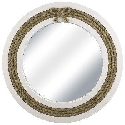 NA 78103 - Specchio tondo in legno con corda - Ø 39 cm