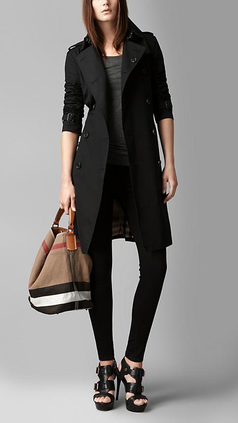 Black Medium Canvas Check Hobo Bag - Image 2