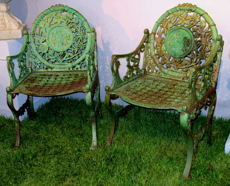 Pair Of Unique Early 20th Century Cast Iron Garden Chairs