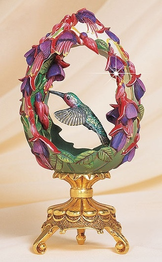 "FABERGÉ eggs__ ""Garden Of Joy"". Franklin Mint Floral Hummingbird Egg, House Of…"