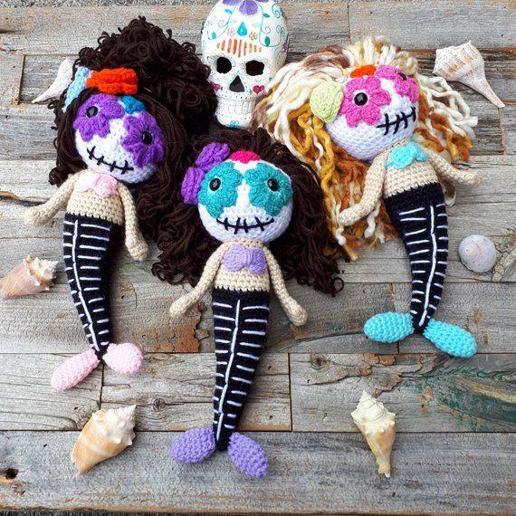 item# 35 Halloween sugar skull ornaments catrina doll vintage image gift tags