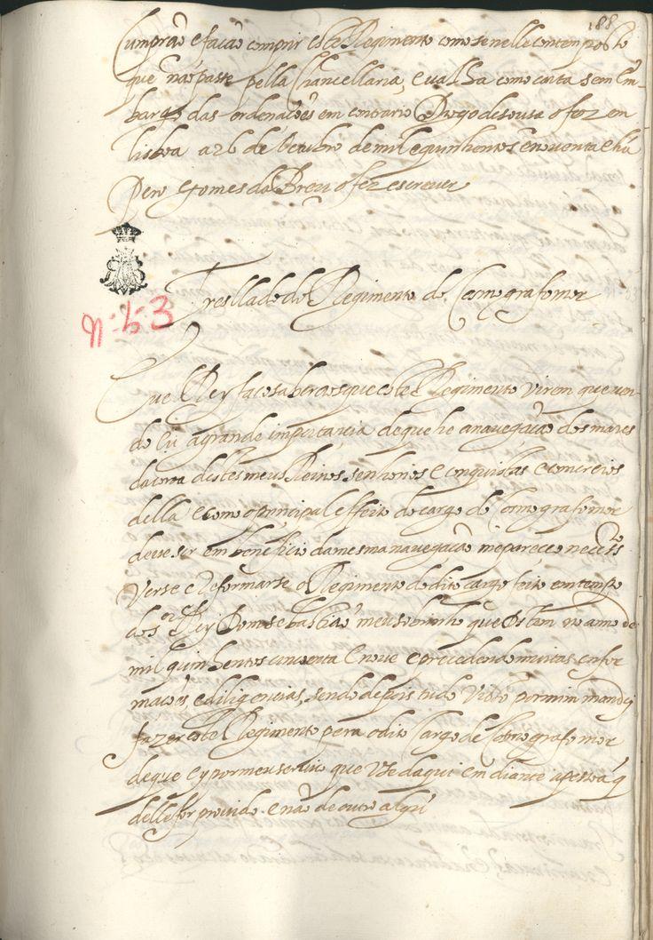 44-xiii-56- fol 188 - «Regimento do Cosmógrafo-Mor». 1592. Manuscrito.  Cota: Biblioteca da Ajuda, 44/XIII/56.