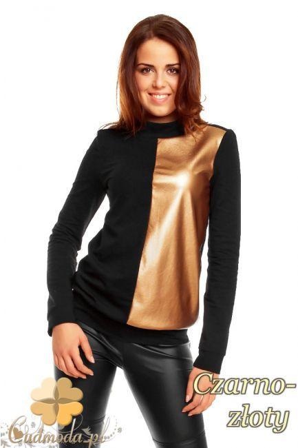 Dwukolorowa damska bluza w połowie wykonana ze skóry marki NOMMO.  #cudmoda #moda #styl #ubrania #odzież #bluzki #clothes #blouses
