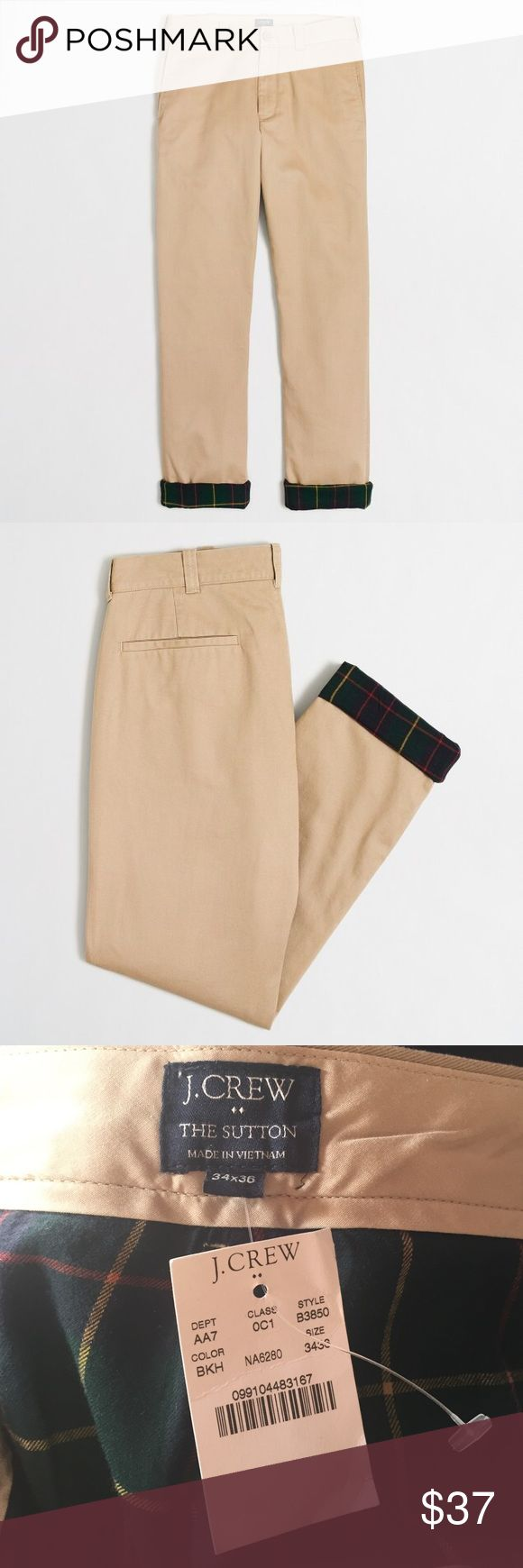 "J.Crew Sutton Flannel-Lined Chino in British Khaki ⚡️Cotton/waist 34 length 36 ⚡️Sits below waist, slim through hip and thigh, with a slim leg. ⚡️15"" leg opening (based on size 32/32). ⚡️Zip fly. ⚡️Off-seam pockets, back welt pockets. ⚡️Machine wash. J. Crew Pants Chinos & Khakis"