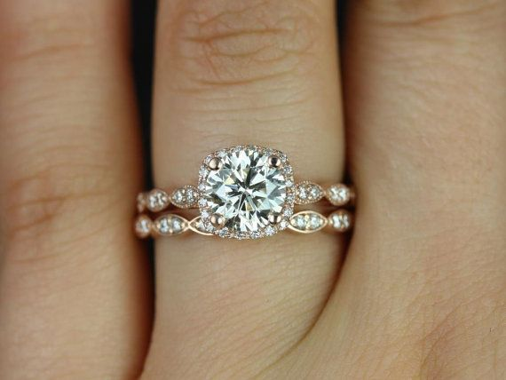 Christie 7mm 14kt Rose Gold FB Moissanite and Diamond Halo WITH Milgrain Wedding Set (Other metals and stone options available)