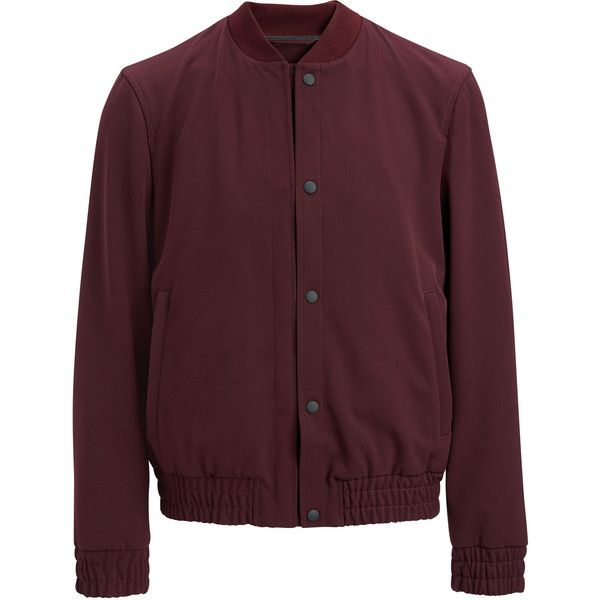 Joseph Techno Wool Stretch Tay Jacket ($705) ❤ liked on Polyvore featuring men's fashion, men's clothing, men's outerwear, men's jackets, burgundy, mens bomber jacket, men's sherpa lined jacket, mens fur lined bomber jacket, mens burgundy jacket and mens wool outerwear