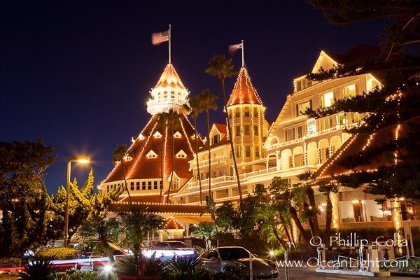 Hotel del Coronado with holiday Christmas night lights.