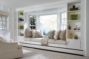 Window, sitting area and bookcases.