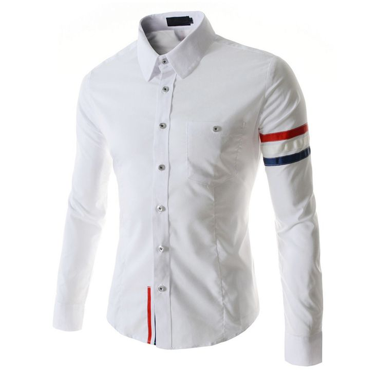 >> Click to Buy << New Fashion Long Sleeve Color Webbing Cotton Slim Fit French Cuff Casual Male Shirt Clothes White #Affiliate