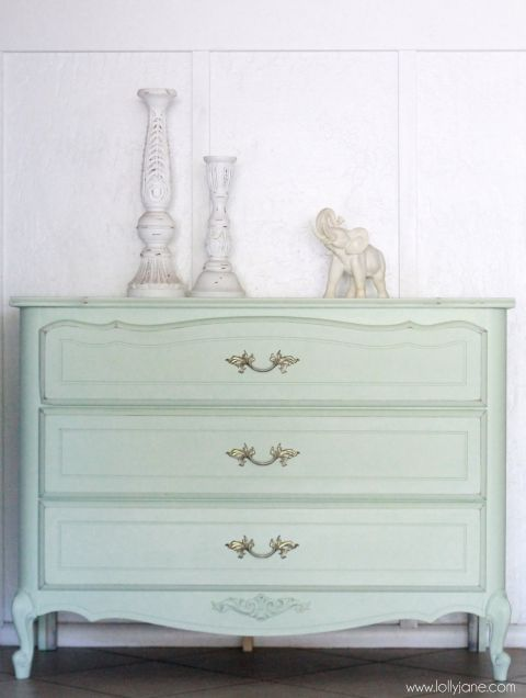 Pretty, soft mint dresser. Before/after on lollyjane.com