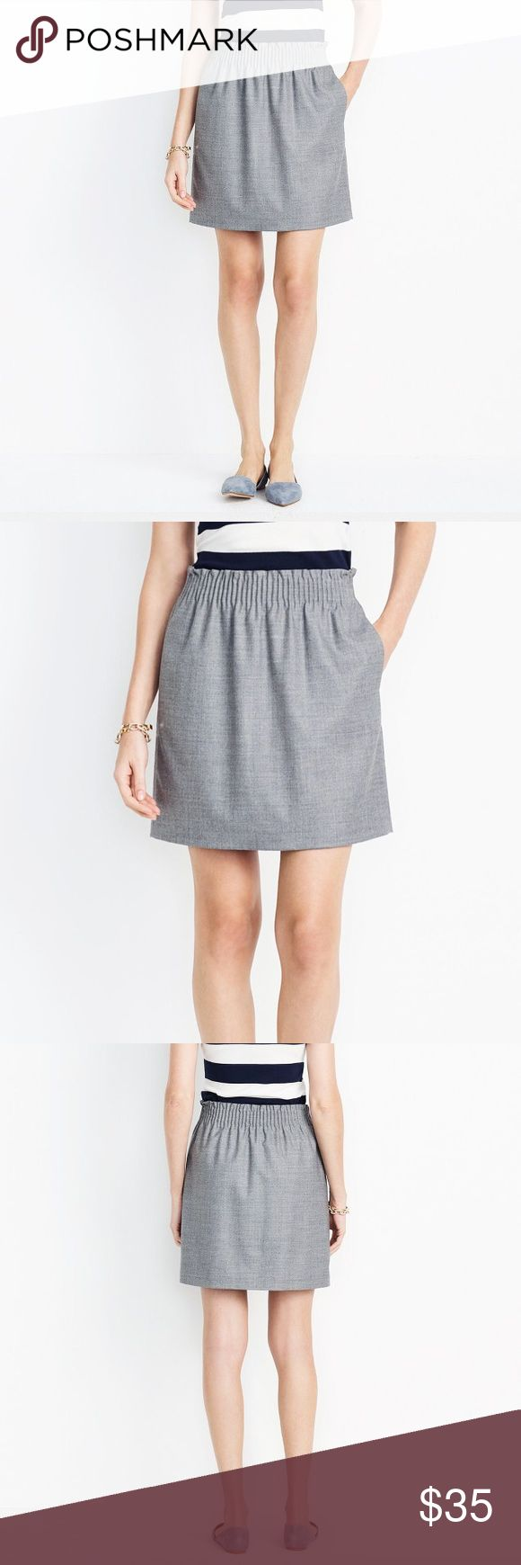 "J. CREW ELASTIC WAIST WOOL SIDEWALK SKIRT SZ 4 J. CREW WOOL SIDEWALK SKIRT SZ 4 ORIGINAL PRICE WAS $74.50   Brand: J. Crew Condition: BRAND NWOT Color: Gray  Size: 4 PRODUCT DETAILS - 38% Wool/ 30% Polyester/ 29% Viscose/ 3% Spandex with a hint of stretch. - Sits at waist. - 17 1/2"" long. - Elastic waistband. - 100% Acetate Lining. - Dry clean. - Import. - Item Style 95435.  RN 77388 CA 56445 J. Crew Skirts Mini"