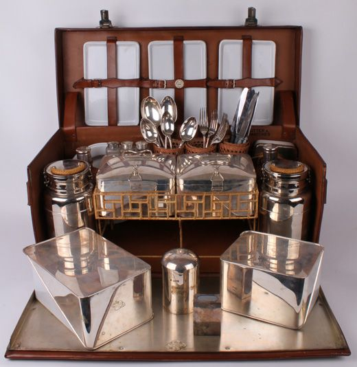 solid silver fitted motoring picnic basket