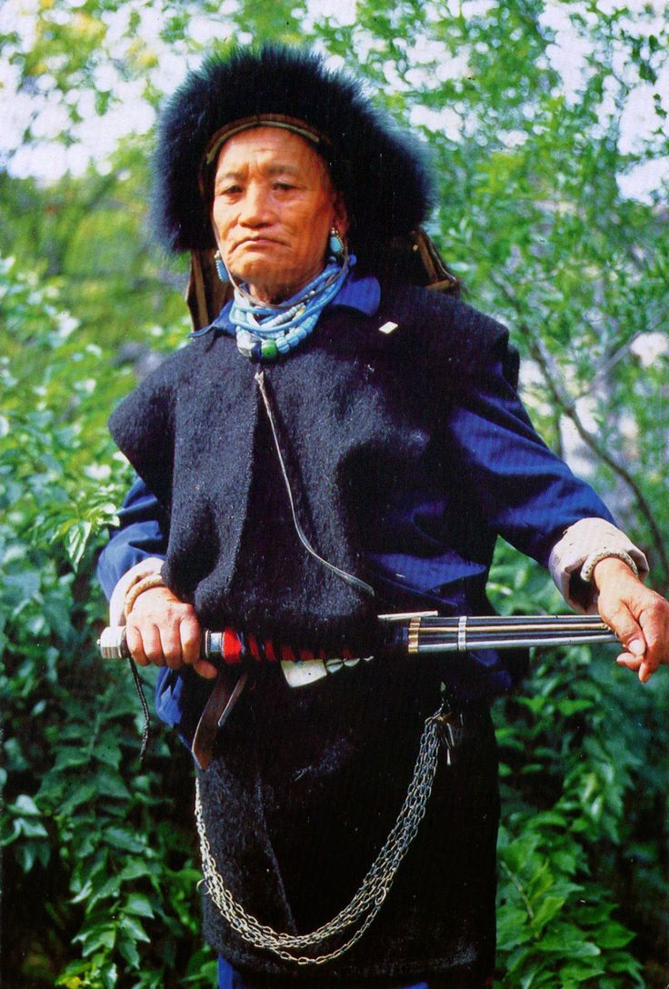 CHINA (Tibet) - A Lhoba man in traditional clothes