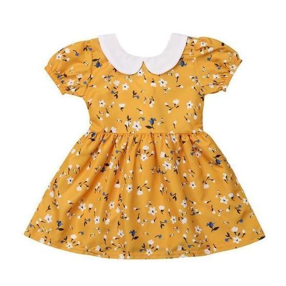 c75f58bfd5 Yellow Floral Baby Girl Dress | Kicking kangaroo | Baby girl dresses ...