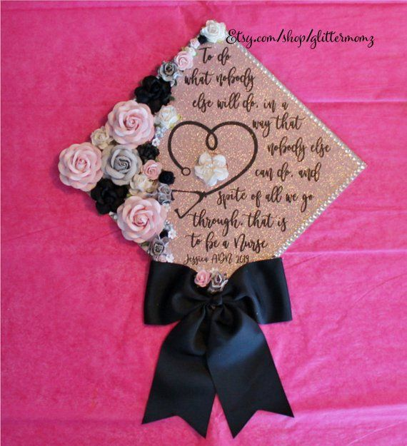 To be a Nurse Graduation Cap Topper Decoration- with flowers, border and bow