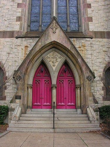 Church doorRed Doors, The Doors, Church Doors, Bridal Portraits, Front Doors, Hot Pink, Knock Knock, Gothic Architecture, Pink Doors