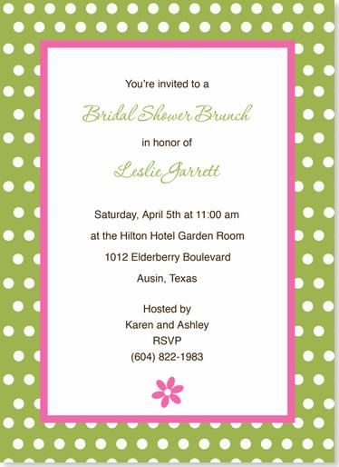 Pink and Green bridal shower invite. Simple, pretty, and decent price